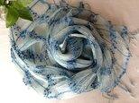 再出品【藍の生葉染め】シルク&ビスコース&コットンのストールの画像