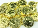 送料無料 コイン チャーム ゴールド 16mm 20枚 アンティーク メタルパーツ ピアス ネックレス 素材 (AP0015)の画像