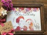 結婚式 似顔絵ウェルカムボード 水彩風 花柄の画像