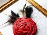 サテンローズヘッドドレスL/redの画像