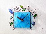 ステンドグラス*掛け&置き時計・水色のアラベスク2の画像