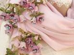【再販】立体レース 花のパシュミナストール「ツインフラワー/2辺」パウダー・ピンクの画像
