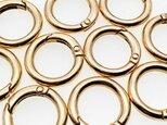 送料無料 カラビナ 丸 ゴールド KC金 10個 24mm サークル キーホルダー ストラップ リング  ナスカン AP0445の画像