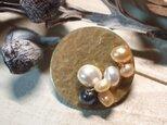 真鍮 真珠ぷちぷちっとお月さま ブローチなどにの画像