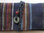 送料無料 絣と唐桟縞の着物で作った和風財布・ポーチ 3069の画像