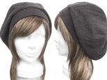 変りリブ織ウールニット/リブ付ベレー帽(ゆったり)◆杢ダークグレーの画像