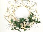 北欧インテリア「1年中飾れる真鍮製のヒンメリリース L(直径33cm)お花付き」【受注制作】の画像