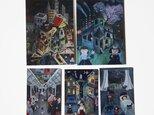 夜の風景カード×5枚セット(アクリル画)の画像