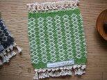 北欧手織りのウールコースターgreenの画像