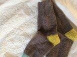 手編みの靴下  ナチュラル ブラウンの画像