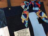 最新作☆デニム&倉敷8号帆布トートバッグ Mサイズ royal黒革リボン#05の画像