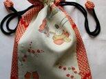 送料無料  羽織の裏地と絞りで作った巾着袋 3179の画像