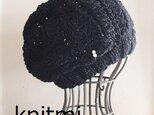 【総レース★美人ニット帽】しめつけない 黒レース ニット帽子 ベレー帽 パールの画像
