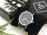 クリエイティブデザイン*隠し文字盤腕時計 black×black <g-017>の画像