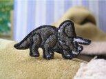人気の恐竜/トリケラトプス/岩肌柄★ミニワッペンの画像