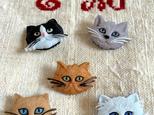 cat USA button 3匹(白黒&茶猫2type)の画像