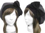 リボン飾り/リブ付ベレー帽(ゆったり)◆ジャガード織コットンニット/杢ダークグレーの画像