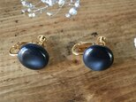 Soft marble color earrings (Indigo blue)の画像