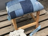 hotaru 椅子 ベンチ スツール デニムパッチワーク カリフォルニア サーフ系 天然木 無垢材 オーダー可の画像