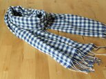 【再販】手織り コットンカシミヤストール 青ギンガムチェックの画像