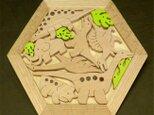 木のパズル 恐竜たちとマンモスの画像