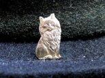 真鍮製ミニ猫型ピンズブローチ 結婚式・シャツジャケットやハットの飾りにの画像