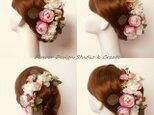 ウェディングに♡ほんのりピンクの薔薇のヘッドドレス(Uピン15本セット)の画像