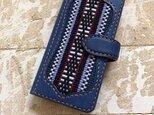 Reiさん オーダーページ iPhoneスマホケース 手帳型 ネイビー×キャメル 伊波メンサー織(織物シリーズ)の画像
