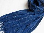 【再販】藍コットンとリネンの手織りしぼストールの画像