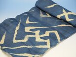 asa0017 卍紋様麻布 100cm 藍染☆古布古裂/木綿/筒描き/型染め/藍染/絹/ボロ襤褸の画像