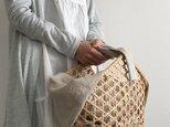 受注製作商品*六角透かし編みのカゴバッグ(ブルー)の画像