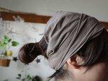 綿麻グレーベージュカラーのヘアターバンの画像