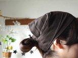 綿麻チョコブラウンカラーのヘアターバンの画像