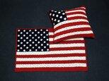 「S様オーダー品」アメリカ星条旗のブランケットとクッションセットの画像