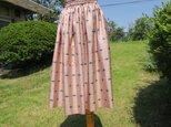 たっぷりギャザーの銘仙のスカートの画像