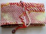 送料無料 絞りの羽織で作った和風財布・ポーチ3551の画像