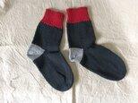 手編みの靴下  グレー  ピンクの画像