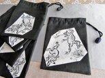 ◆粋な手書き墨絵鳥獣戯画の巾着袋の画像