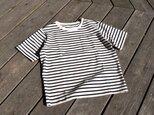 16番手双糸 天竺ボーダー クルーネック ポケットTシャツの画像
