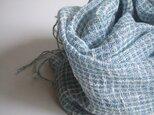 手織りリネン&コットンストール・・水あそびの画像