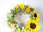 ~sunflower~(M)*ひまわり×青りんご*ナチュラルリース☆の画像