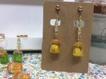 レジンジャム瓶のイヤリング、ピアス(レモン)の画像