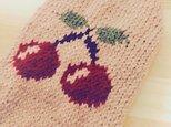 【手編み】さくらんぼセーター(小型犬用・胴回り40)【犬・服】の画像