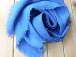 天然藍で手染め・ベルギーリネン・大判・風呂敷・花色の画像