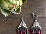 fringe earrings -  silver redの画像