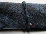藍大島紬で作った和風財布・ポーチ 3708の画像