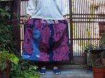 ゆかたリメイク☆浴衣パッチでおとな色スカート真夏のお出かけに76㎝丈の画像