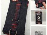 布のiPhoneジャケット8Plus,7Plus,6Plus用 デニムレッドの画像