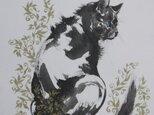 「青い目の猫」(墨絵、厚い和紙、裏打ち不要、26,4cm×36,4cm)送料無料!の画像