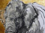 黄金(墨絵、アクリル 水彩画用紙21cm×29,4cm)送料無料!の画像